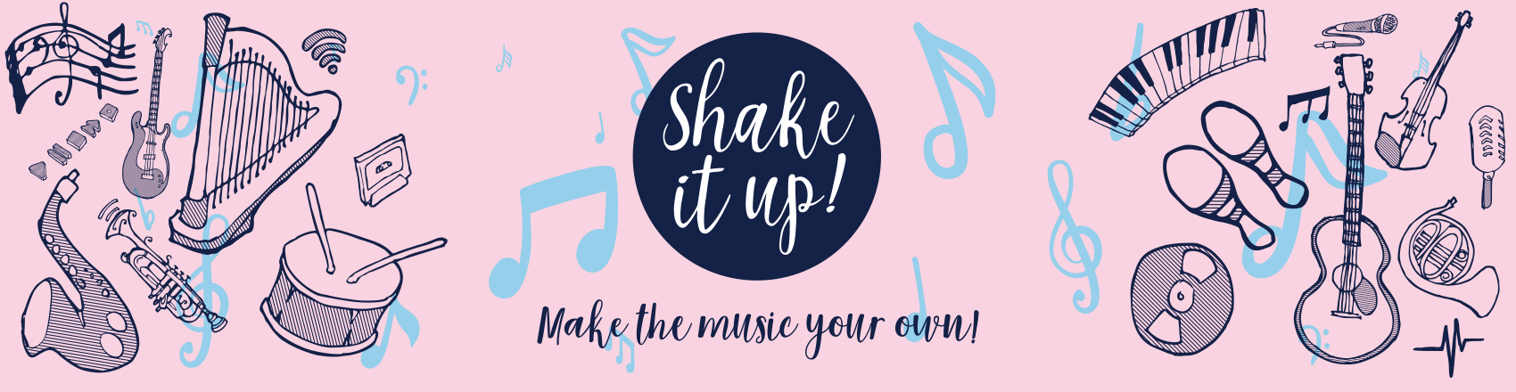 Shake It Up competition banner: make the music your own!